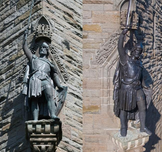 A before and after image of the statue of the Scottish hero