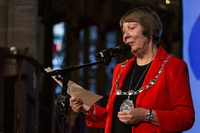 Provost Christine Simpson speaking in the Church of the Holy Rude for the opening night of Bloody Scotland, Scotland's International Crime Writing Festival  in Stirling on the 20/09/2019.    Paul Reich