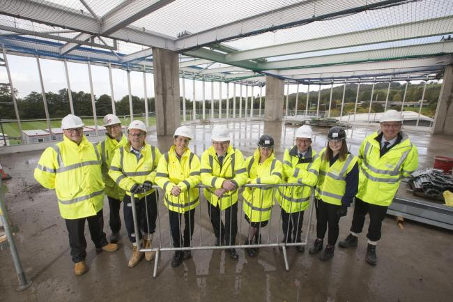 University senior officers and project board members were welcomed on-site by the Morrison Construction team - Picture by Jeff Holmes