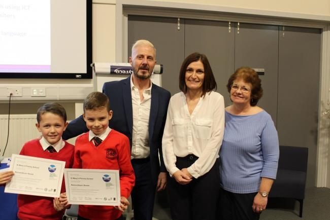 Children from St Mary's received the award at the University of Strathclyde