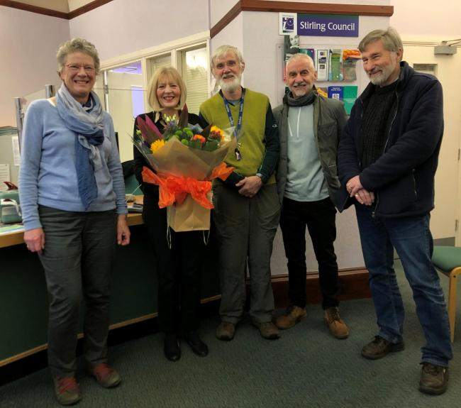 Barbara Allan of Dunblane Development Trust, retiring registrar Rosina Hamilton, Tim Hughes of the Burgh Chambers Group, Tom Casey from Discover Dunblane and David Prescott from Dunblane Community Council