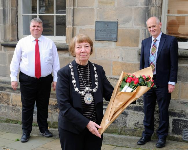 Provost Christine Simpson, along with Bailies – Cllr Chris Kane (left) and Cllr Alasdair Tollemache (right)