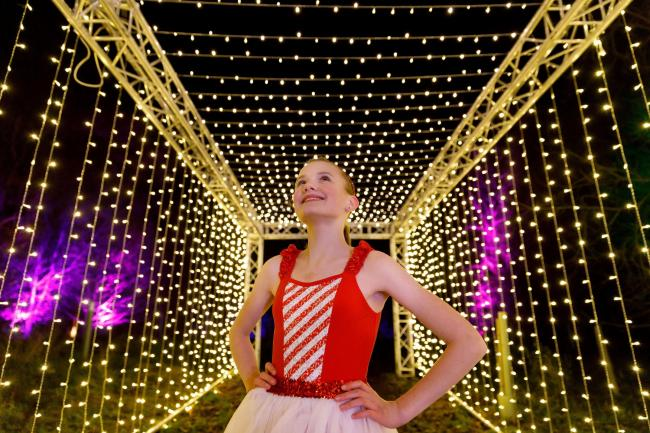 Esmee Mackenzie enjoying a bit of Christmas magic at the illuminated trail - Image by Mark Ferguson