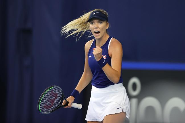 Katie Boulter clenches her fist during her victory over Marcela Zacarias