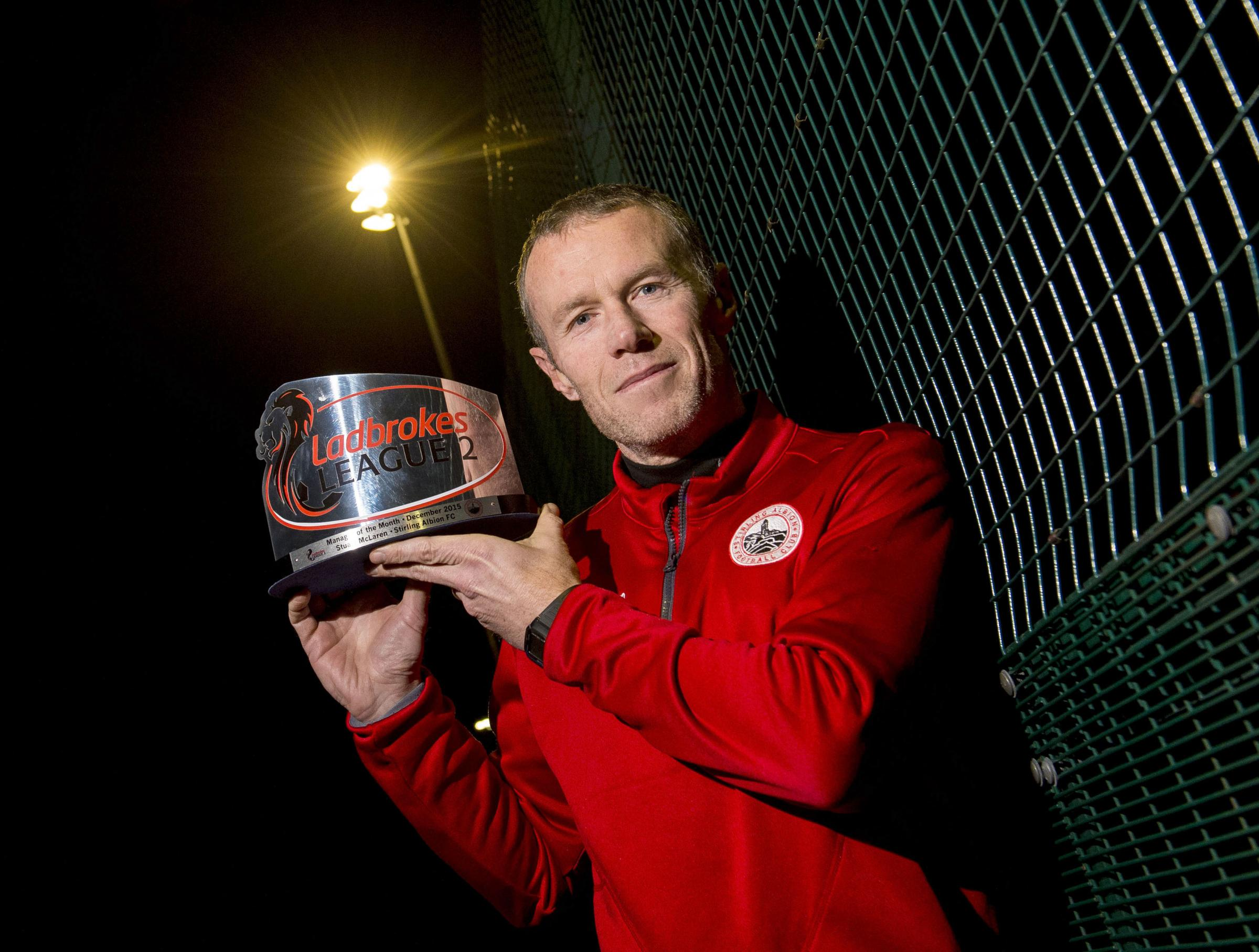 14/01/16  STIRLING ALBION  Stirling Albion manager Darren Smith is delighted to have been awarded Ladbrokes League Two manager the month for December