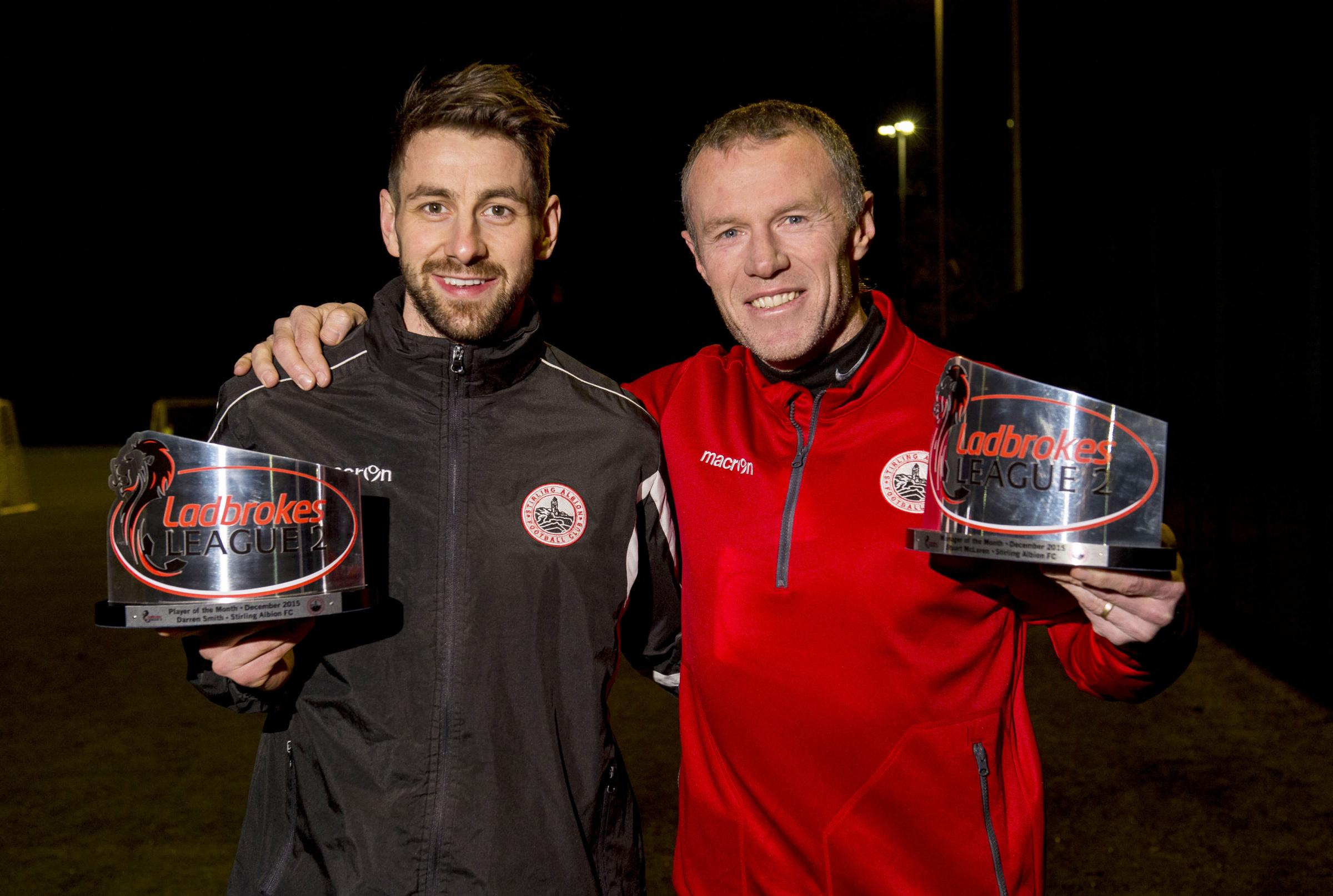 Stirling Albion's hat-trick hero Darren Smith alongside gaffer Stuart McLaren