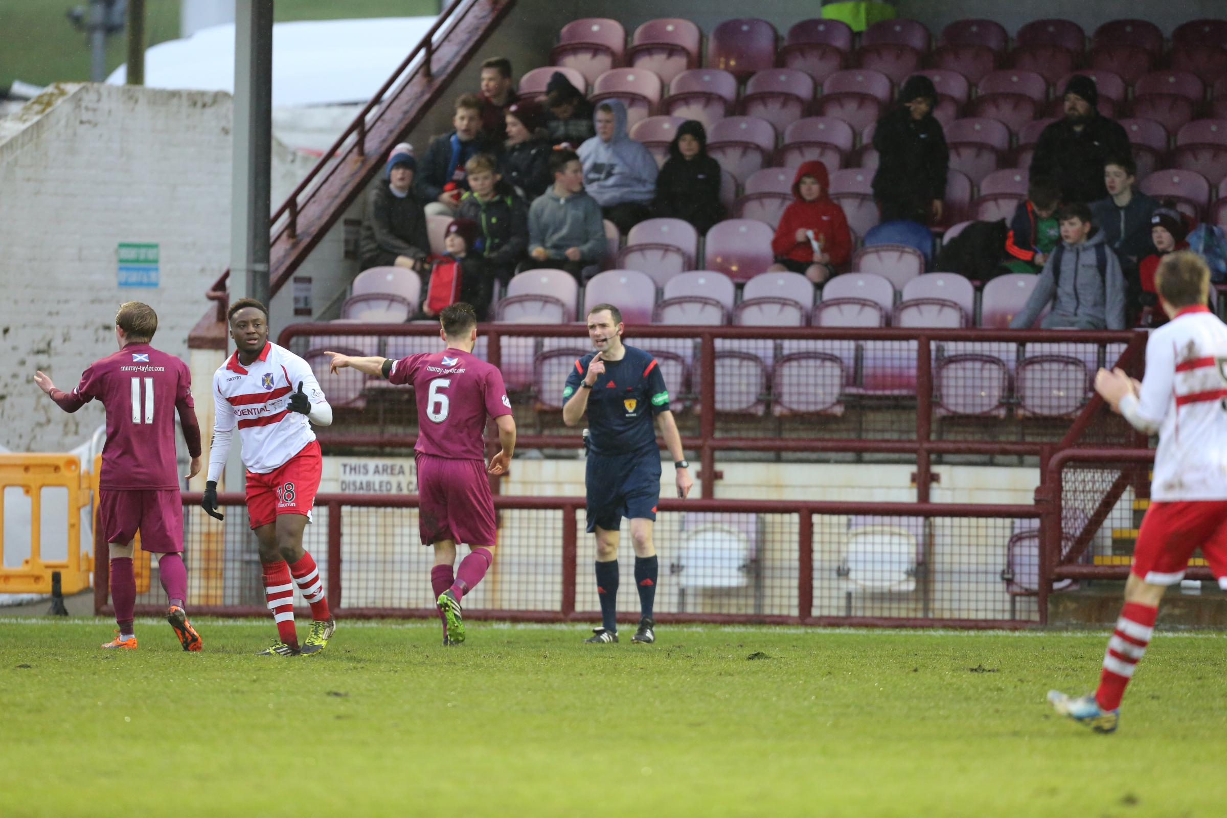 Stirling goalscorer Moses Olanrewaju in action against Arbroath earlier this season.