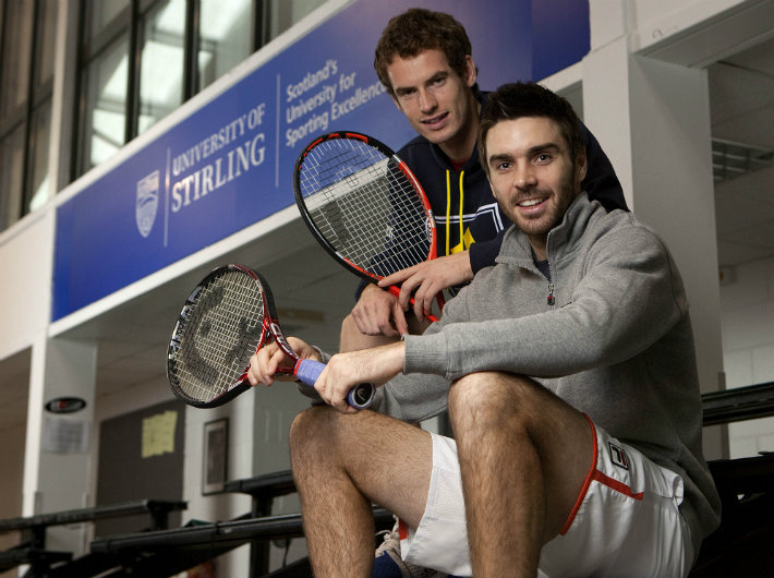 Colin Fleming with Andy Murray at the National Tennis Centre on campus