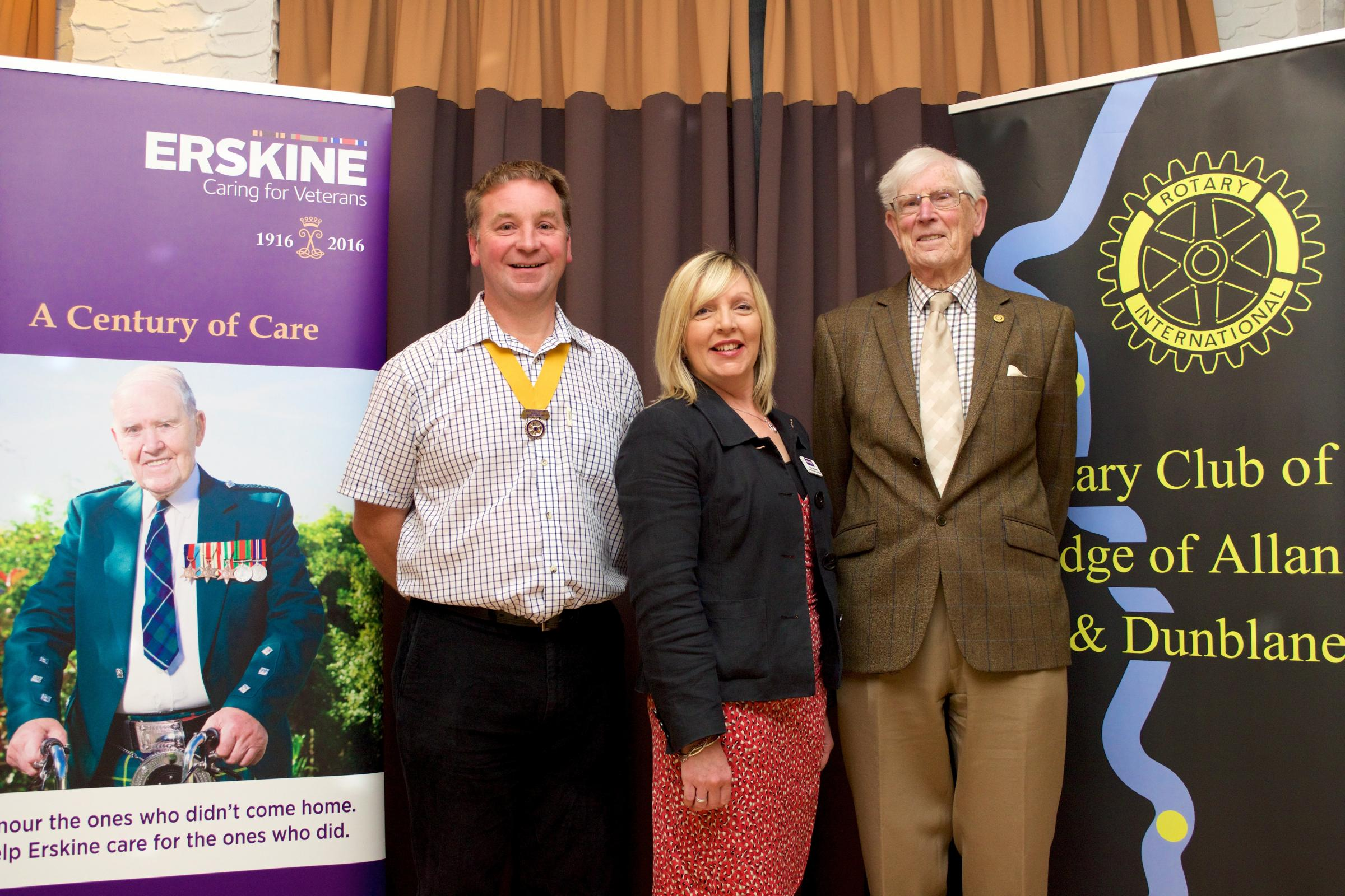 Karen McBeath from Erskine (centre) with president-elect George Morrison (left) and David Mackie