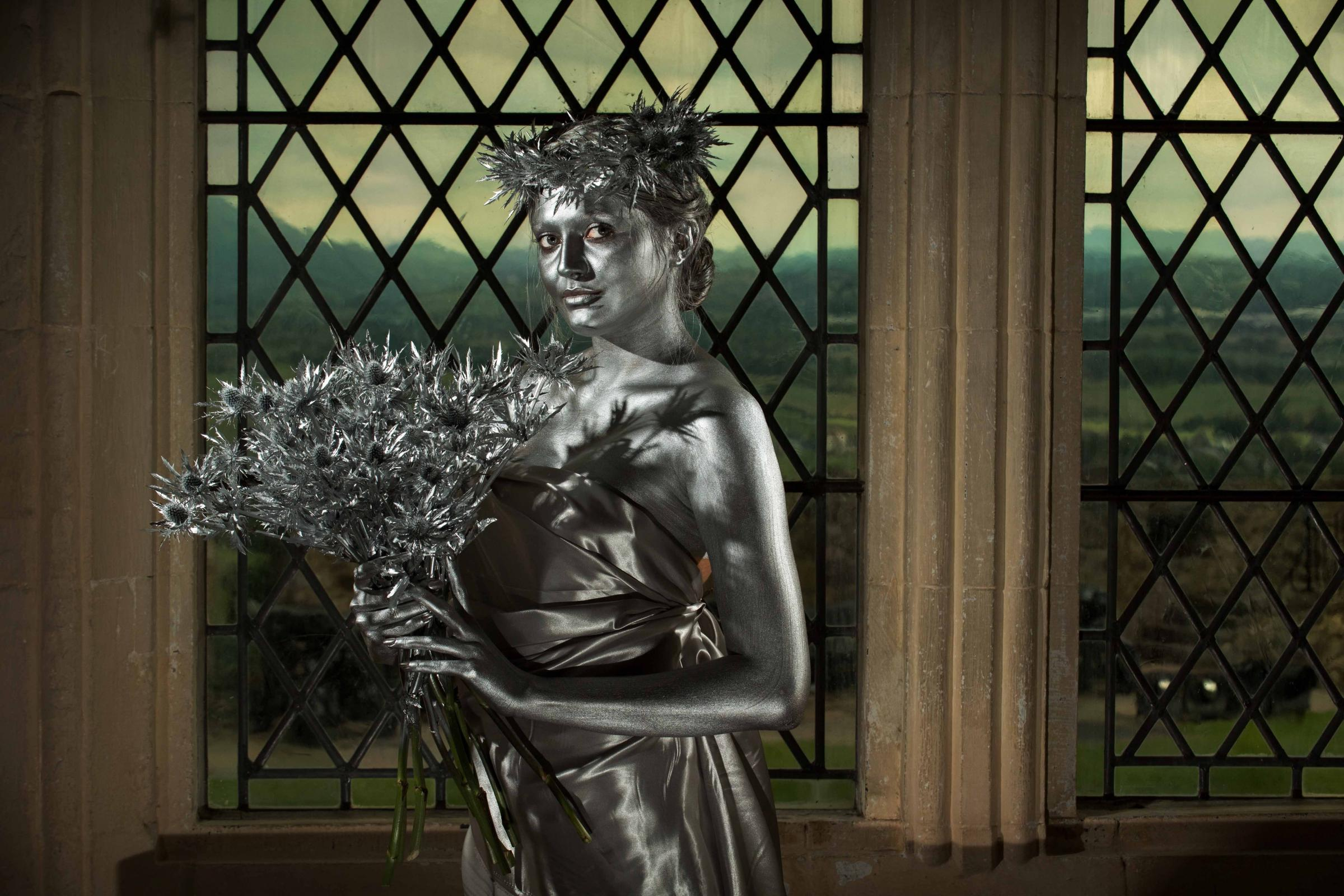 Picture by Gareth Easton. 07752 666 522. At Stirling Castle, 'silver thistles' model Robyn Flemming marks the 25th anniversary of Scotland's tourism Oscars, The Scottish Thistle Awards, and their new heritage experience category sponsored by Histori