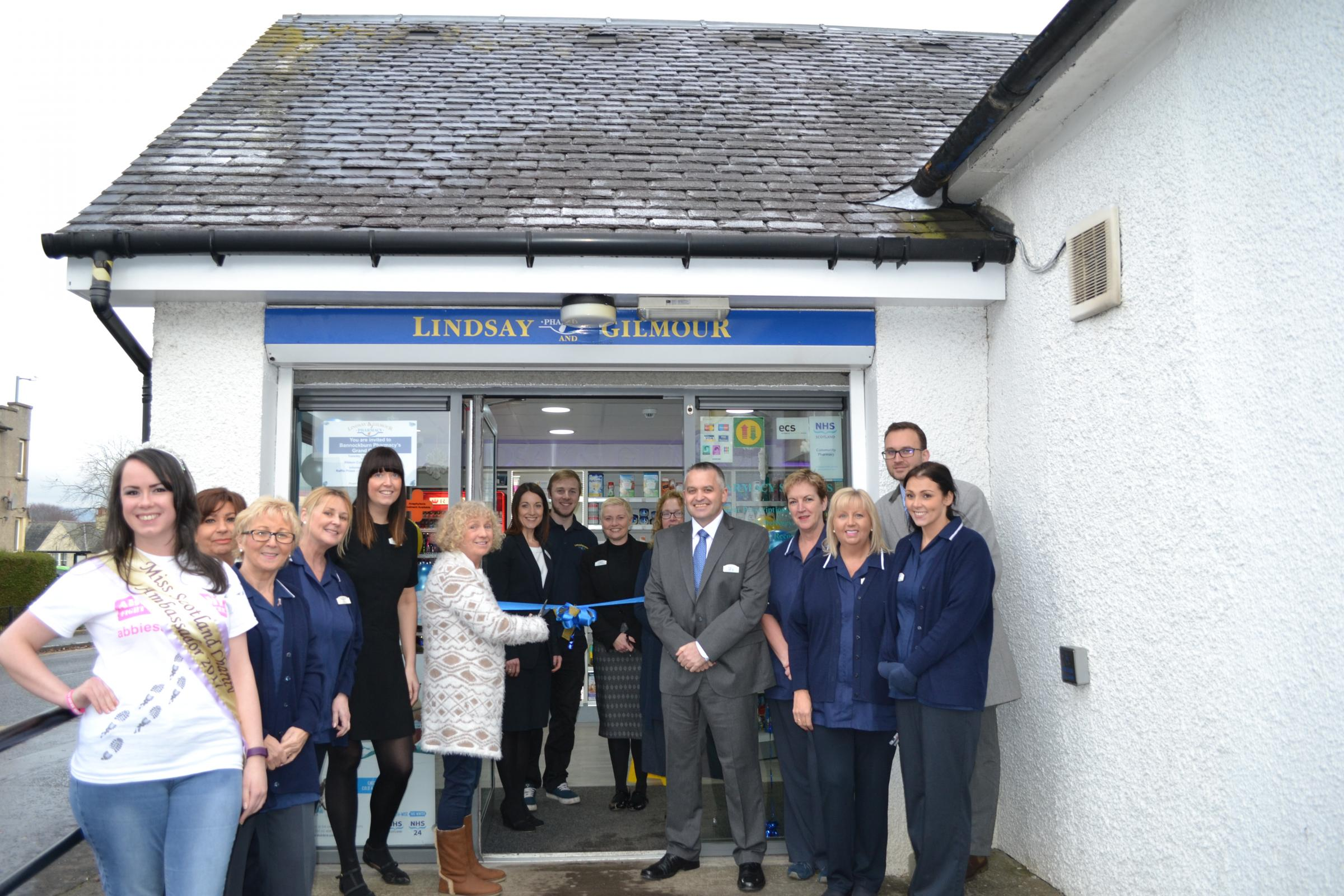 Lindsay & Gilmour managing director Philip Galt alongside pharmacist manager Gillian Frame and colleagues at the re-opening