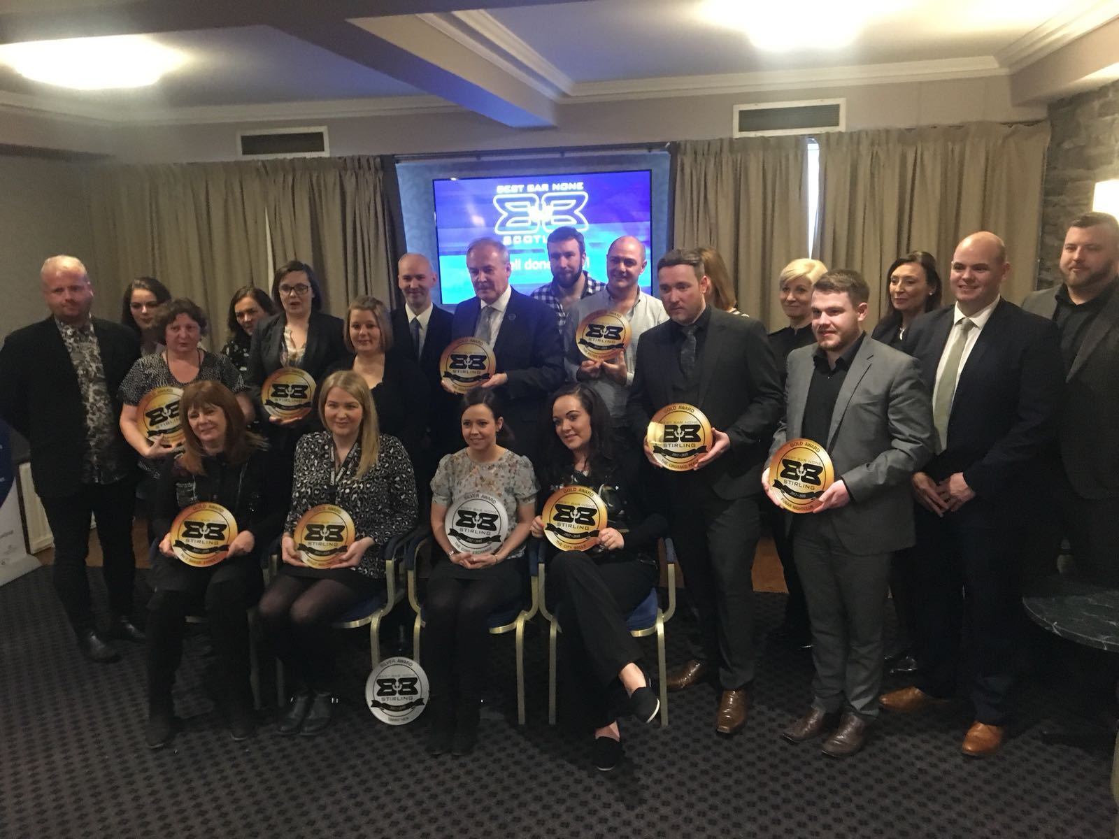 Representatives of licensed premises in Stirling and Dunblane gathered at the Golden Lion to receive Best Bar Non accreditation