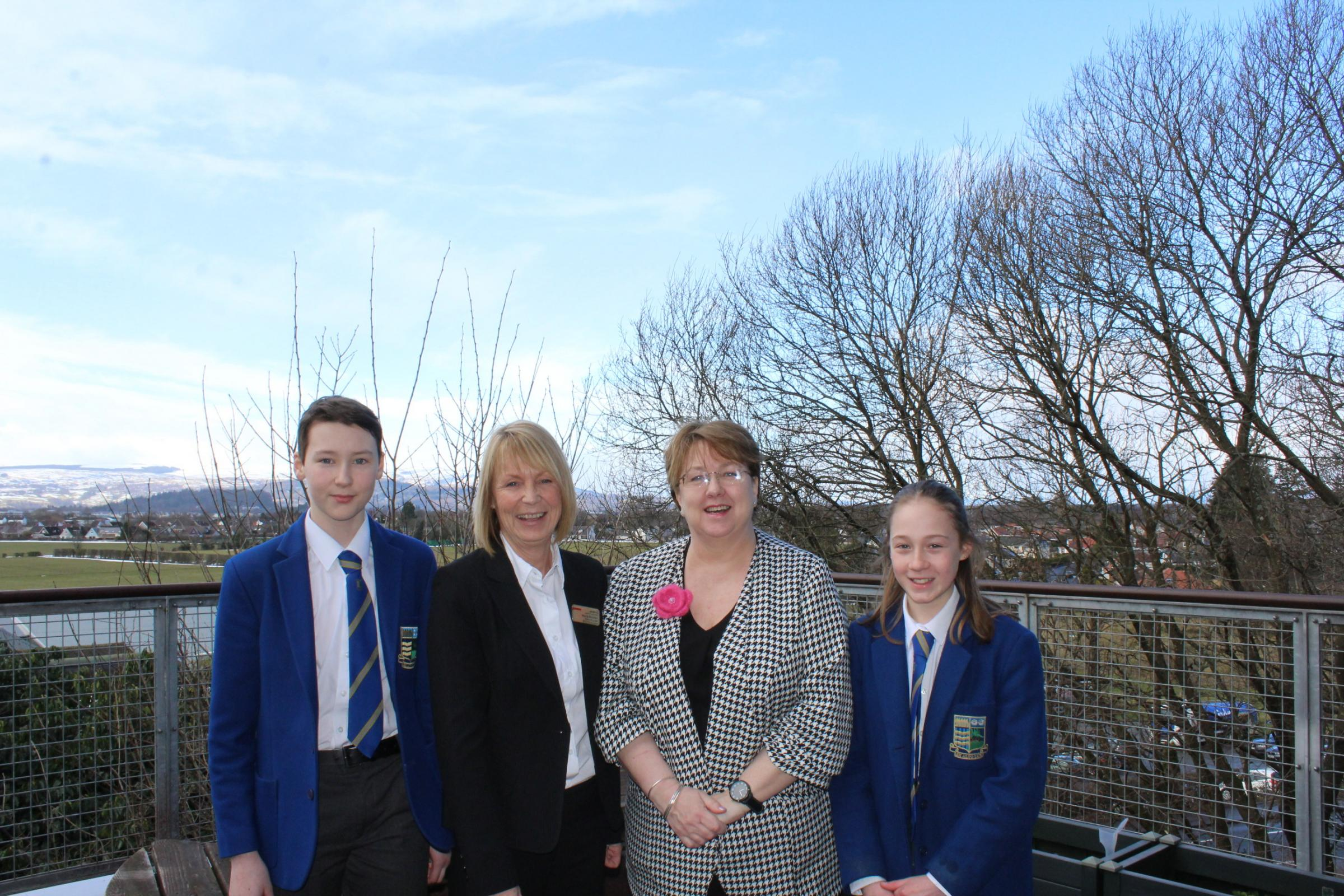 S1 pupil Rory Martin, Marie Brunton, Headteacher Sandra Bannerman and S1 pupil Heather Hale