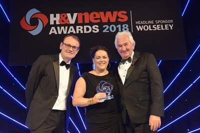 Simone Hart Sibbald at the H&V Awards with (left) stand-up comedian Sean Lock and (right) judge Peter Thom, Managing Director of Green Heat Ltd