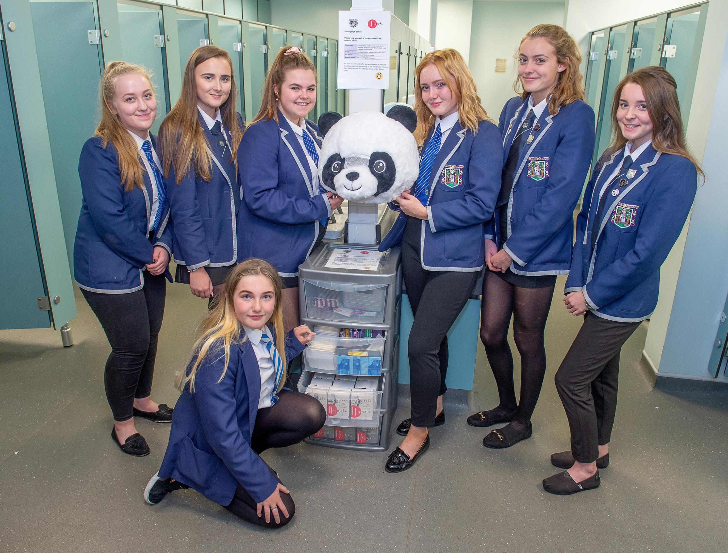 Pupils at Stirling High School with the free items