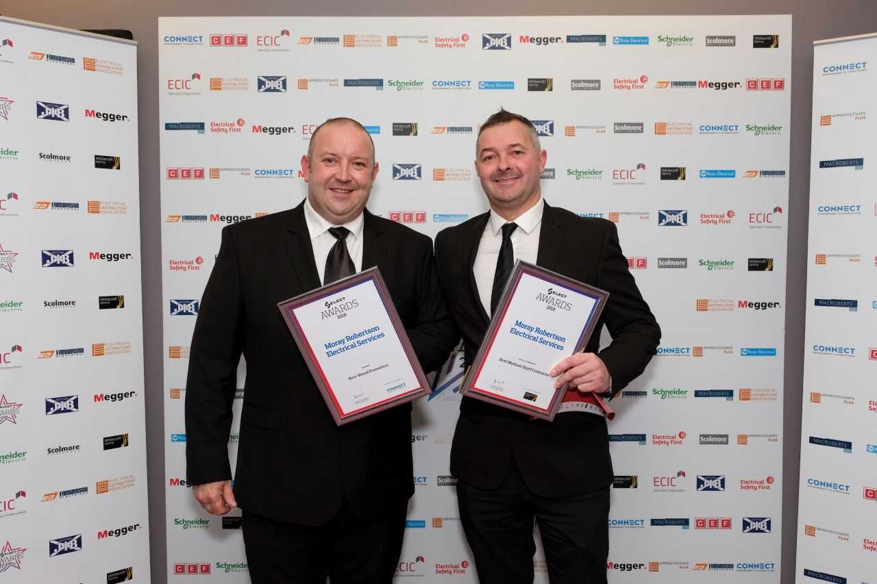 Engineers Mark Gordon (left) and Paul Starkey represented Moray Robertson Electrical Services at the Select Awards