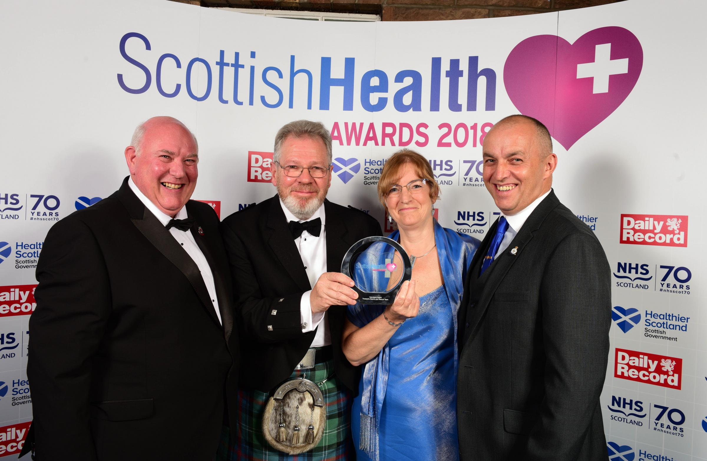 Scottish Health Awards 2018 at the Corn Exchange, Edinburgh. Volunteers award - Trossachs Search & Rescue Team