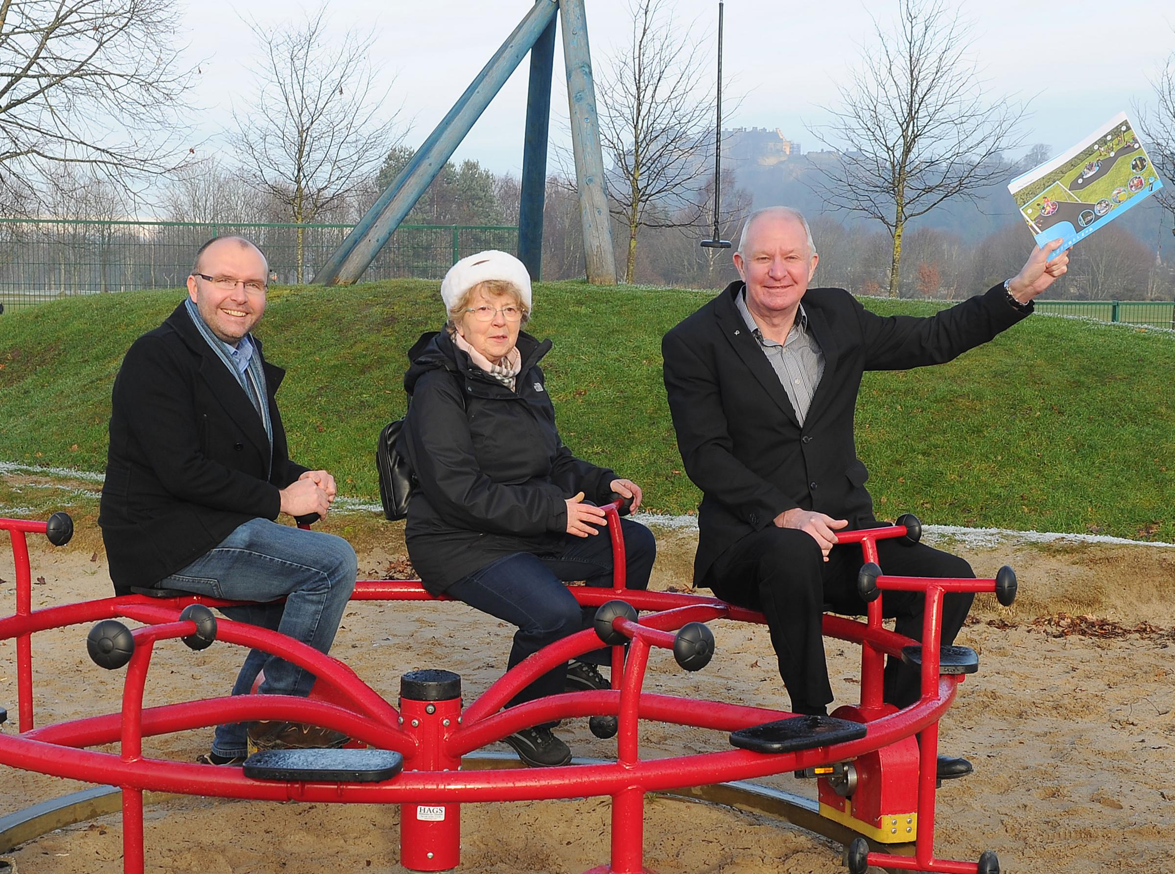 Cllr Jim Thomson, Dorothy Wilson from Friends of King's Park and Cllr Danny Gibson showcase design samples of how the new equipment could look