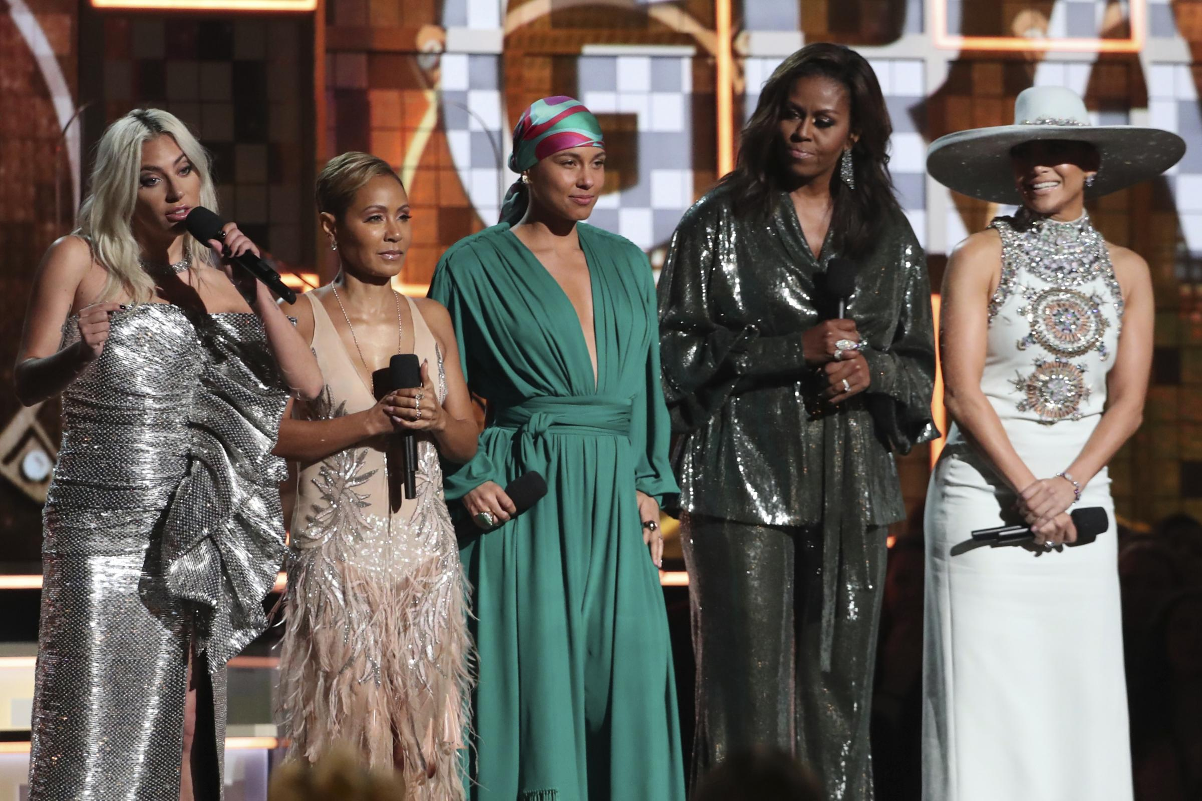From left, Lady Gaga, Jada Pinkett Smith, Alicia Keys, Michelle Obama and Jennifer Lopez