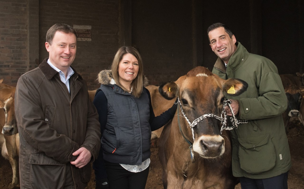Graham Nicolson and Lisa Harley with Robert Graham  at Boquhan Farm in Stirlingshire.